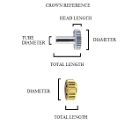 Large Watch Crown Tap 10 Gold 6 X 7 X 3.9 X 1.3 (Diameter / Total length / Head length / Tube diameter)