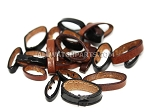 Leather Strap Keeper Assortment - Black & Brown 20pcs