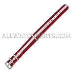 NATO Ballistic Nylon White In Red Strap (20mm)