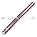 NATO Ballistic Nylon 7 Stripe Red Blue White Strap (18mm-20mm)