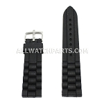 Black Silicone Rubber Presidential Style Watch Strap (16mm-26mm)