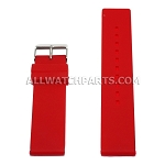 Flat Red Silicone Rubber Watch Strap (12mm-26mm)