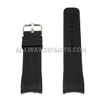 Navy Blue Silicone Rubber Watch Strap with Thick Curved End (22mm-24mm)