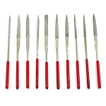 Diamond Needle Hand File with Red Handle Set of 10 Pieces