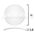 1.0mm Double Dome Mineral Glass Crystal (14.0mm-35.0mm / 0.1mm increment)