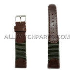 Dark Brown and Olive Green Swiss Army Genuine Leather Band (12mm-19mm)