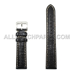 Black Genuine Lizard Leather Band - Bright Stitches (16mm-22mm)