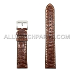 Brown Genuine Lizard Leather Band - Bright Stitches (16mm-22mm)