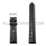 Black Genuine Alligator Leather Band - Bright Stitches (10mm-24mm)