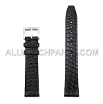 Flat Black Genuine Alligator Leather Band - Flat End  (18mm)