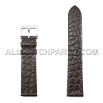 Flat Dark Brown Genuine Alligator Leather Band (20mm)