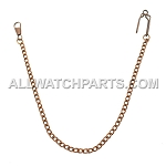 Retro-Style Curb Linked Pocket Watch Chain w/ Belt Clip - Rusted Copper Color