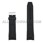 Black Silicone Rubber Watch Strap (24mm)