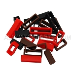 Silicone Strap Keeper Assortment 16mm-30mm (24 PCS) - Black, Brown and Red.
