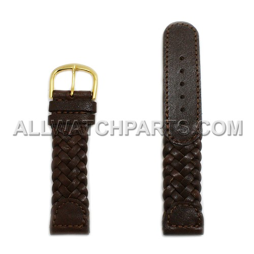 Dark Brown Braided Genuine Leather Band (14mm-22mm)