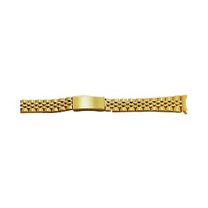 Ladies Metal Watch Band With Curved End Gold Color (12mm)