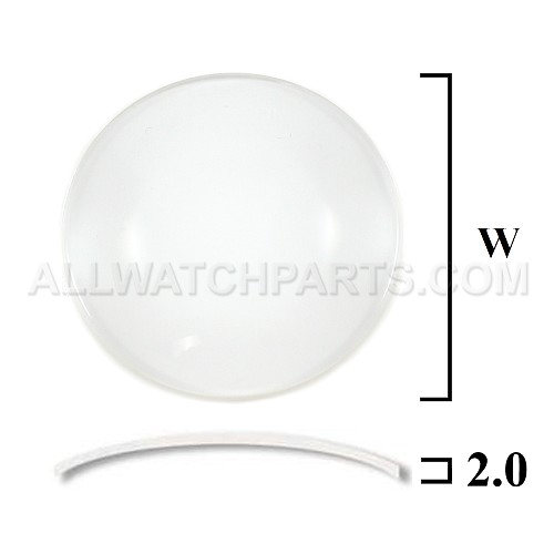 2.0mm Double Dome Mineral Glass Crystal (18.0mm-35.0mm / 0.5mm Increment)