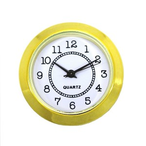 "1 1/2"" Gold Wall Clock Quartz Analog Movement Insert with Arabic Numbers"