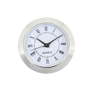 "1 1/2"" Silver Wall Clock Quartz Analog Movement Insert with Roman Numerals"
