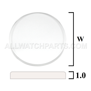 1.0mm Flat Round Mineral Glass Crystal (12.0mm-35.0mm / 0.1mm increment)