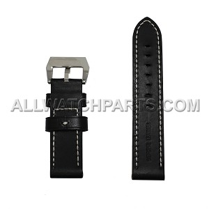 Black Panerai Style Genuine Leather Band (22-24MM)
