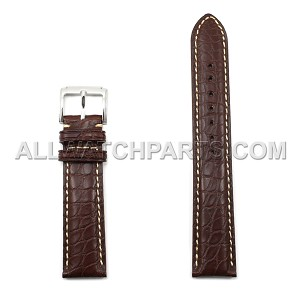 Brown Genuine Alligator Leather Band - Bright Stitches (10mm-24mm)