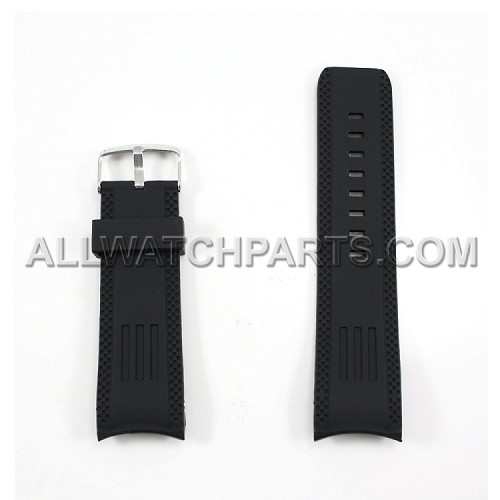 Black Silicone Rubber Watch Strap with Thick Curved End (26mm)