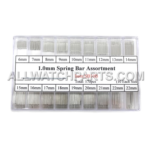1.0mm Double Flange Thin Spring Bar Assortment 170pcs (6mm-22mm)